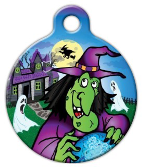 Dog Tag Art Spooky Halloween Witch Pet ID Dog Tag