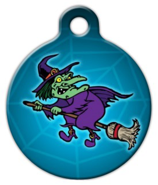 Dog Tag Art Flying Witch Pet ID Dog Tag