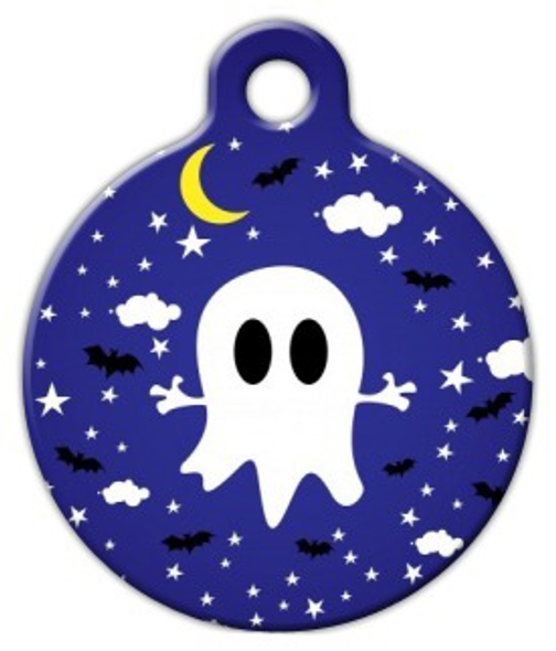 Dog Tag Art Cute Ghost Night Sky Pet ID Dog Tag