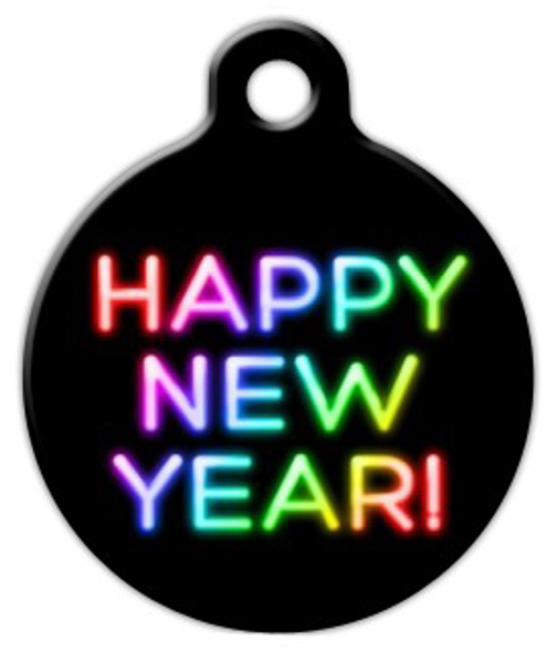 Dog Tag Art Neon New Year Pet ID Dog Tag