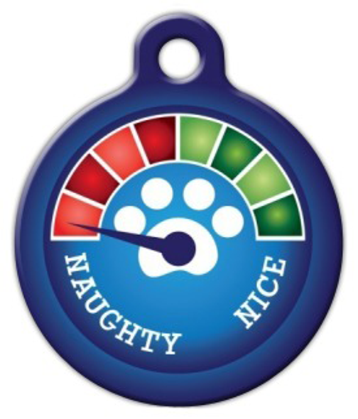 Dog Tag Art Christmas Meter Naughty! Pet ID Dog Tag