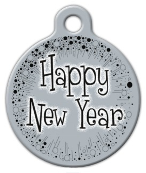 Dog Tag Art Happy New Year Pet ID Dog Tag