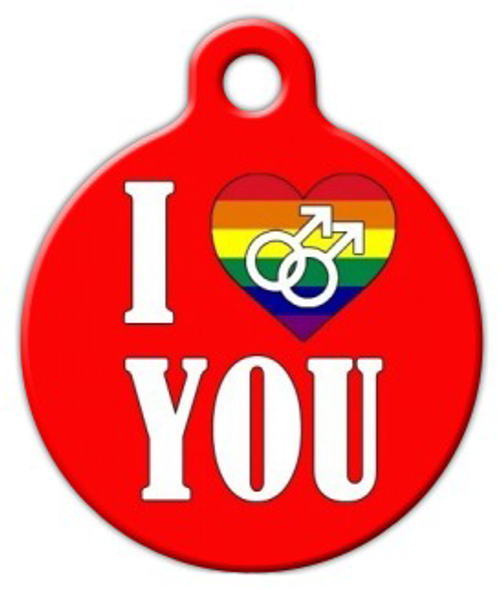 Dog Tag Art I Love You Gay Pet ID Dog Tag
