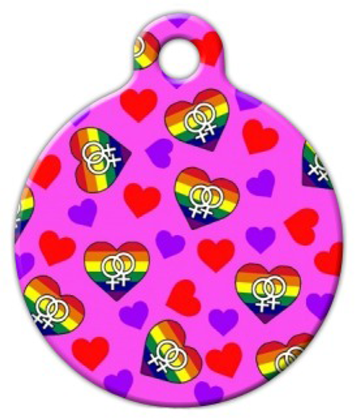 Dog Tag Art Female Hearts Pet ID Dog Tag