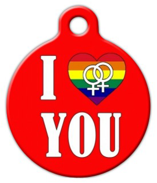 Dog Tag Art I Love You Lesbian Pet ID Dog Tag