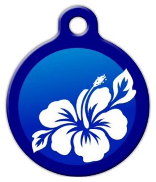 Dog Tag Art Blue Hibiscus Pet ID Dog Tag