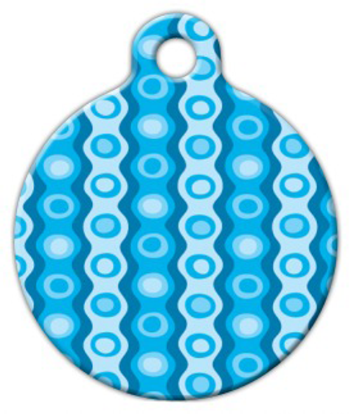 Dog Tag Art Blue Polyester Pattern Pet ID Dog Tag