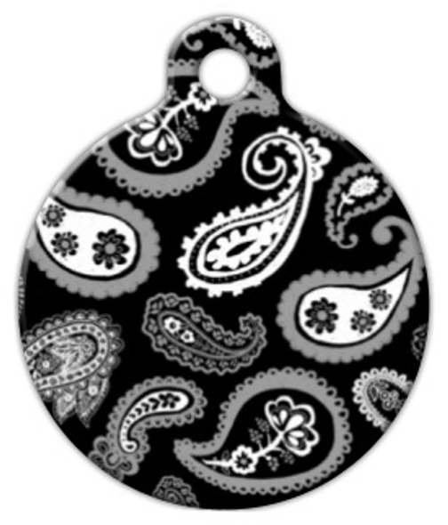 Dog Tag Art Black and White Beauty Paisley Pet ID Dog Tag