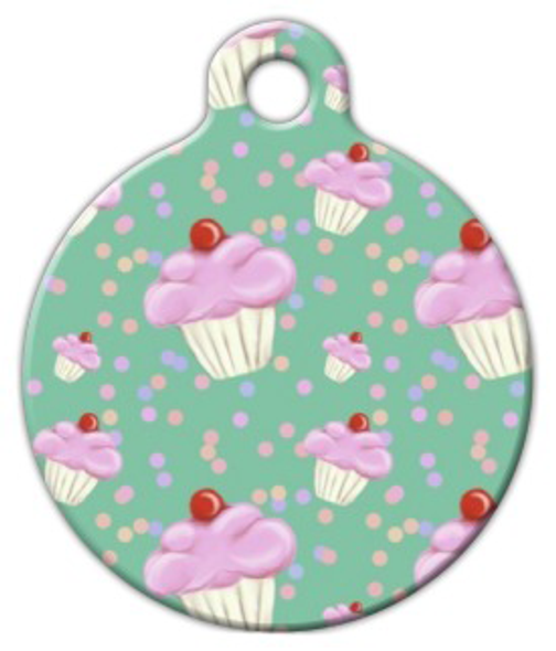 Dog Tag Art Cupcake Confetti on Mint Pet ID Dog Tag