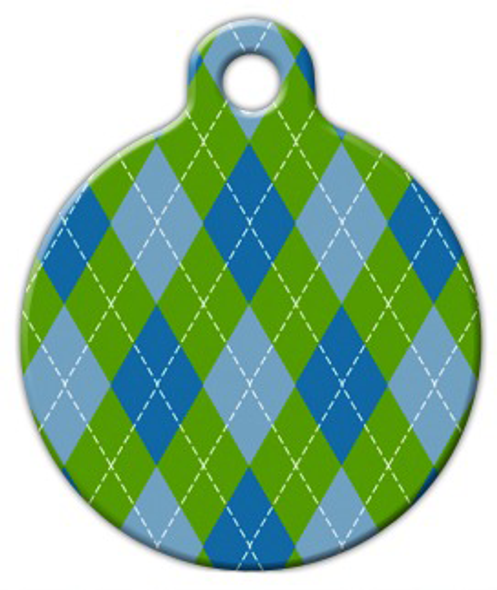 Dog Tag Art Argyle Blue Pet ID Dog Tag