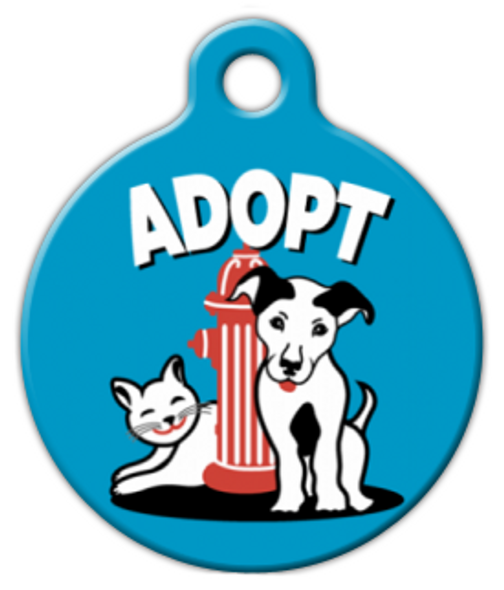Dog Tag Art Blue Adopt Pet ID Dog Tag