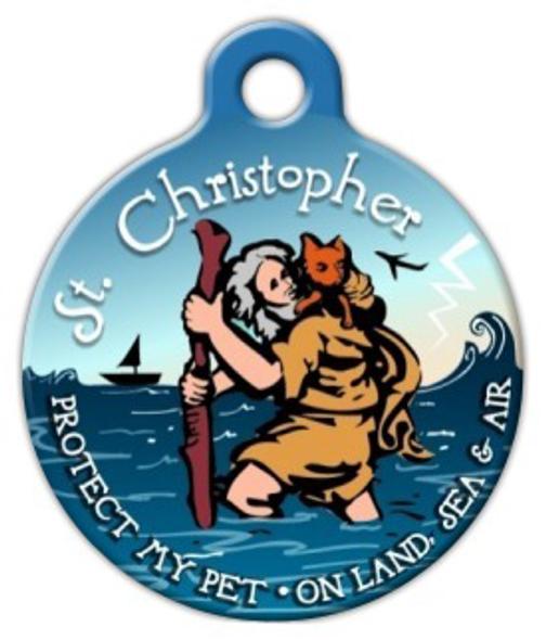 Dog Tag Art Saint Christopher Protection Medal Pet ID Dog Tag