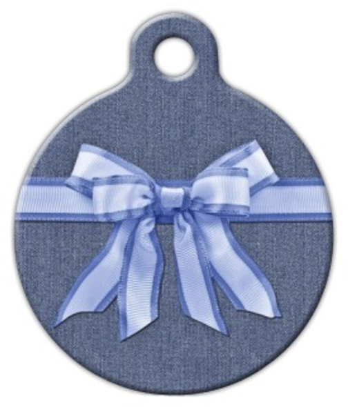 Dog Tag Art Blue Bow on Denim Pet ID Dog Tag