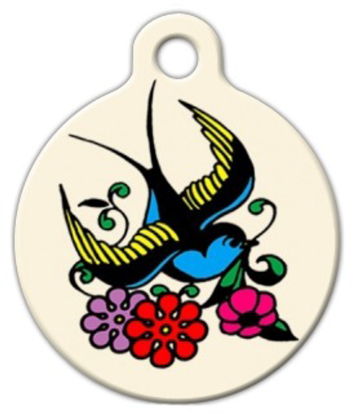 Dog Tag Art Classic Sparrow Tattoo Pet ID Dog Tag