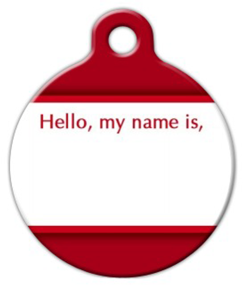 Dog Tag Art Hello, My Name Is Pet ID Dog Tag