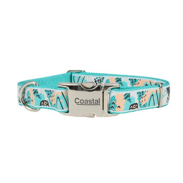 Coastal Pet Ribbon Adjustable Dog Collar (61471) Teal Sketched Abstract TSA