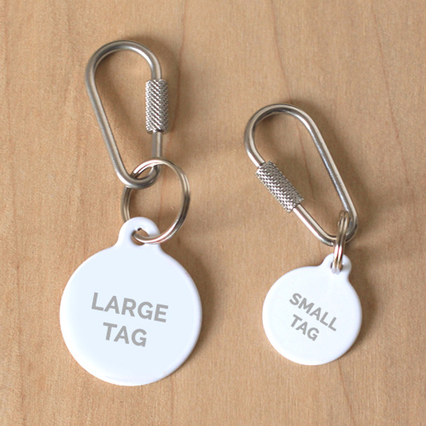 Dog Tag Collar attachment Locking Carabiner On Tag Samples