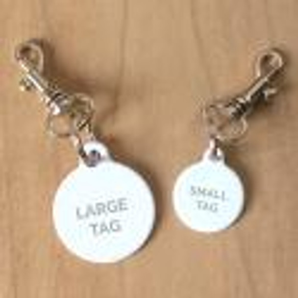 Dog Tag Collar attachment - Bolt Snap Clip Swivel on tag samples