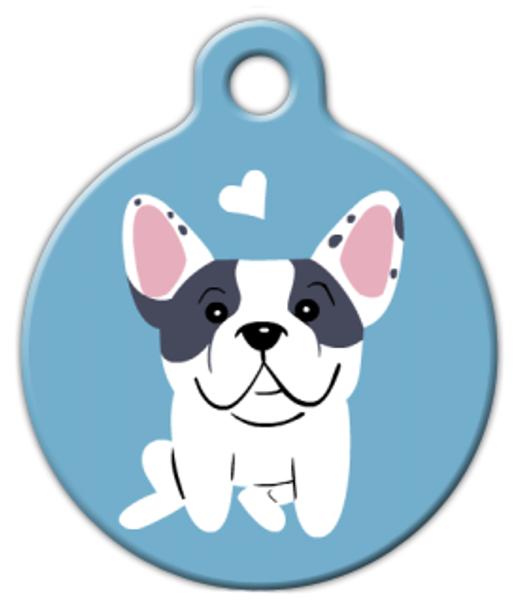 Dog Tag Art French Bulldog (Pied) Doggie Pet ID Dog Tag