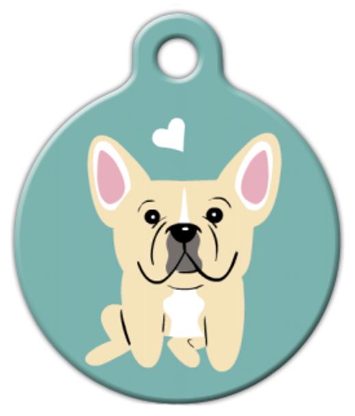 Dog Tag Art French Bulldog (Cream) Doggie Pet ID Dog Tag