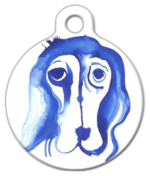 Dog Tag Art Blue Hound Dog Pet ID Dog Tag