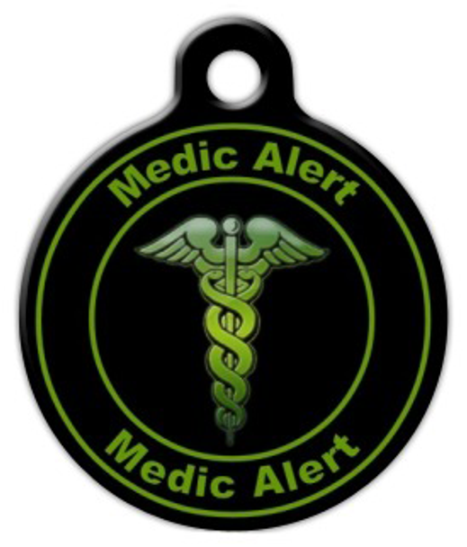 Dog Tag Art Green Medic Alert Pet ID Dog Tag