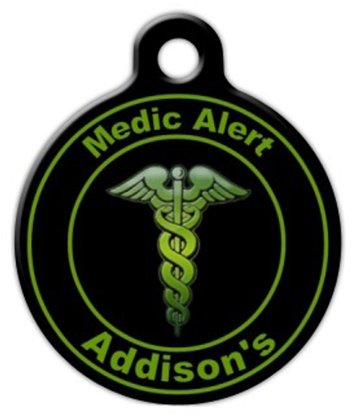 Dog Tag Art Green Addison's Medic Pet ID Dog Tag