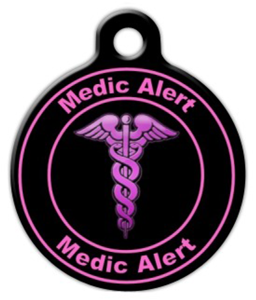 Dog Tag Art Pink Medic Alert Pet ID Dog Tag