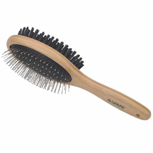 Safari Pin and Bristle Combo Dog Brush with Bamboo Handle