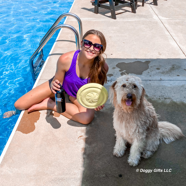 Mylo loves a pool day with Pro Fit Flying Disc