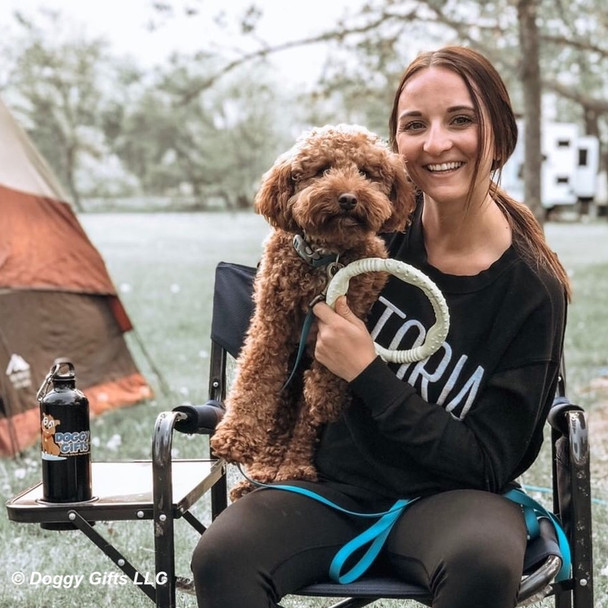 Kona and Mom Morgan having fun camping with Coastal Pet Pro Fit Mini Ring and Pro Waterproof Adjustable Collar and Leash