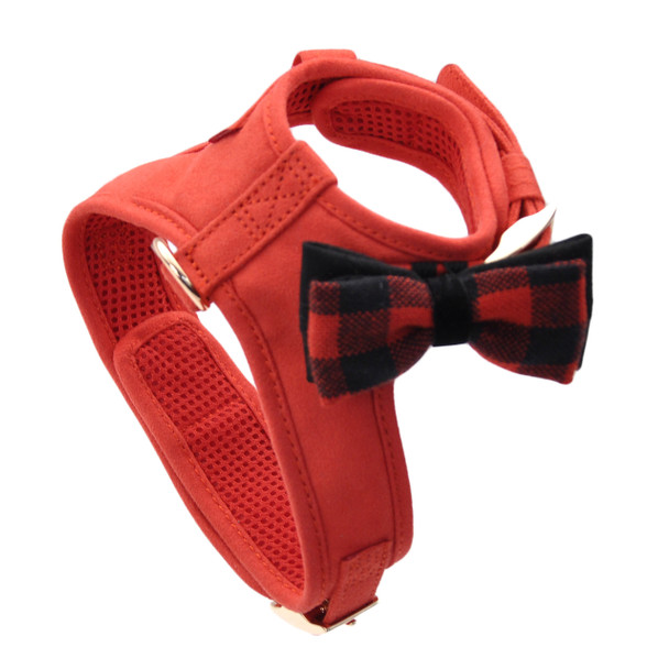 Coastal Pet Accent Microfiber Dog Harness (21414) in stunning red with bow tie