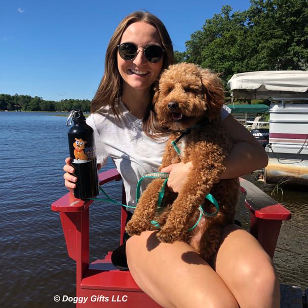 Kona and his mom at the lake wearing ribbon weave dog leash