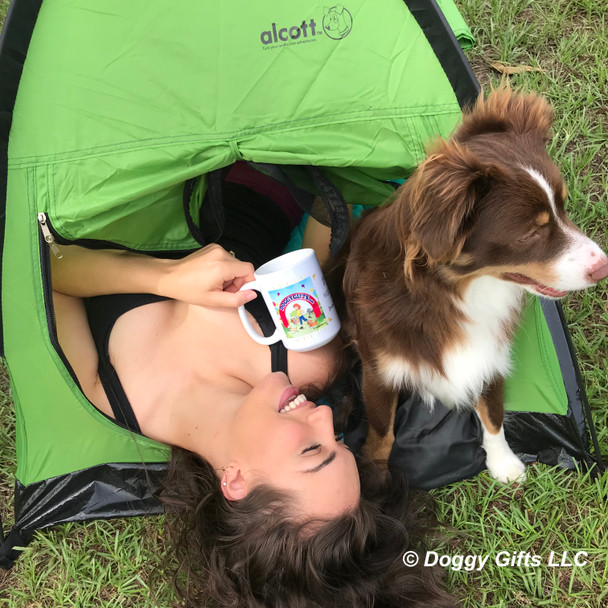 Aspen loves his Alcott pup tent from doggygifts