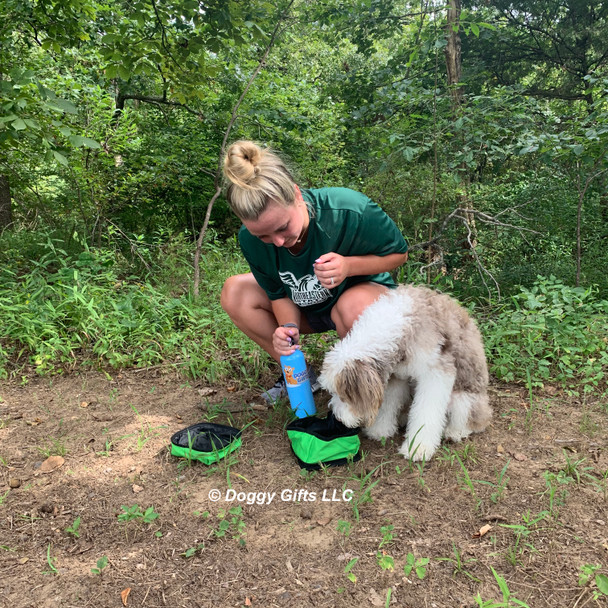 Reggie and his mom love their Alcott Adventure Duo Bowl on hikes together