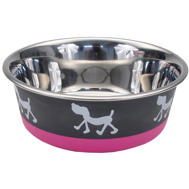 Maslow™ Design Series Pup Bowl (88450) Grey With Pink