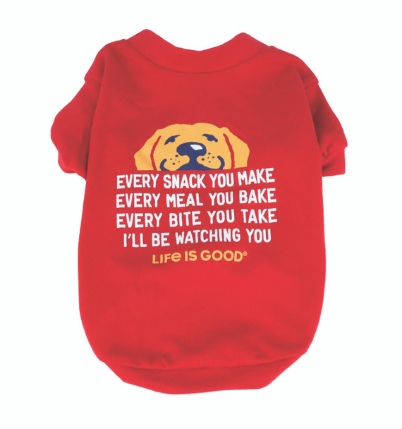 Life is Good dog t shirt red