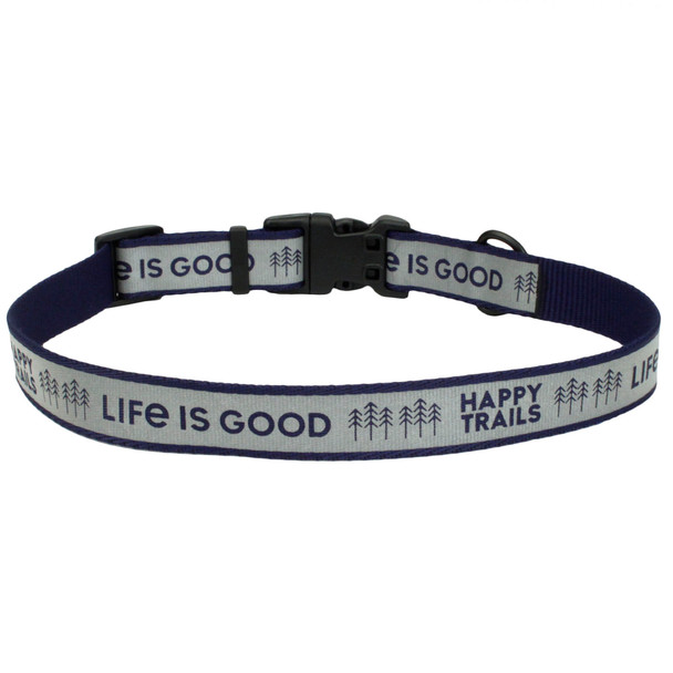 Life Is Good Reflective Adjustable Dog Collar (46440D) Happy Trails Blue Back of Collar