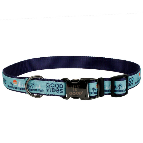Life Is Good® Overlay Adjustable Dog Collar (61451D) Blue Good Vibes  front