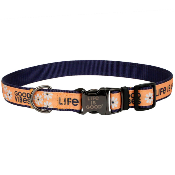 Life Is Good® Overlay Adjustable Dog Collar (61451D) Yellow Good Vibes front