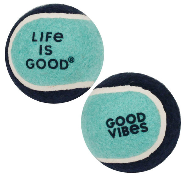 Life Is Good tennis balls for dogs set of two