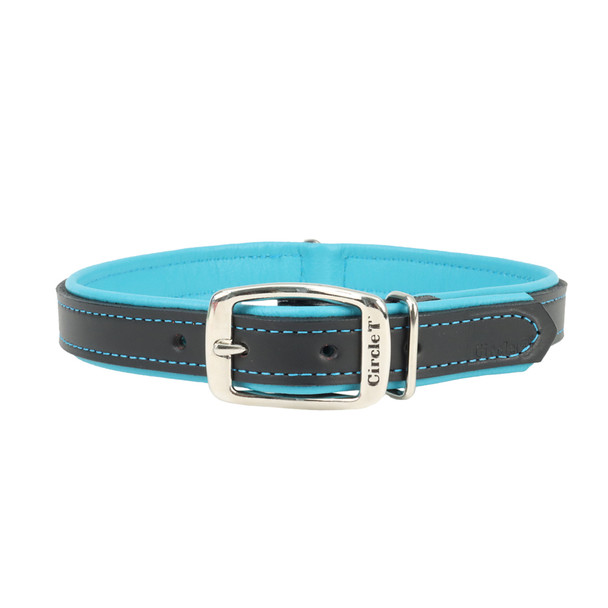 Circle T Double-Ply Fashion Leather Collar Black and Teal