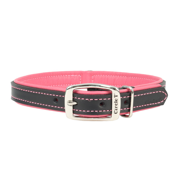 Circle T Double-Ply Fashion Leather Collar Black and Rosebud