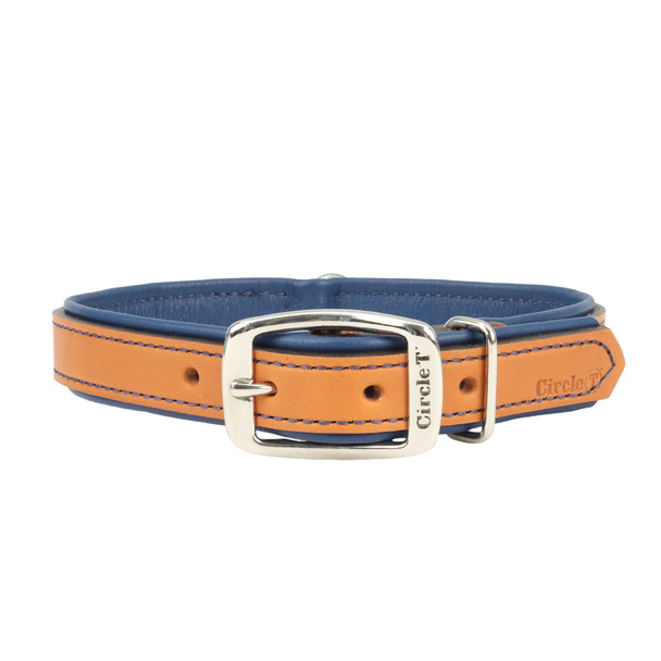 Circle T Double-Ply Fashion Leather Collar Tan and Navy