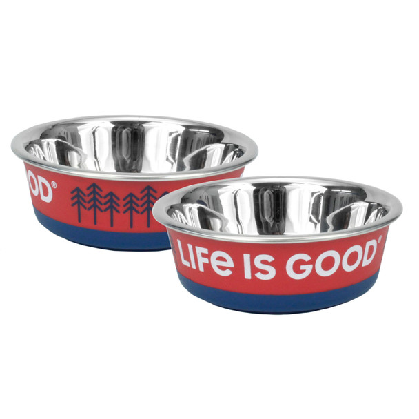 Life Is Good® Stainless Pet Bowl (08590D) Red