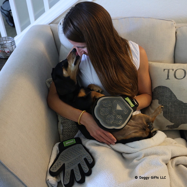 Lots of love and snuggle time with Safari grooming glove and mitt