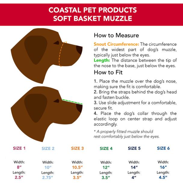 Coastal Pet Soft Basket Muzzle Sizing Information