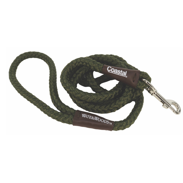 Water&Woods™ Braided Rope Snap Dog Leash Green