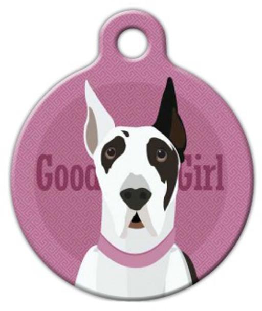 Dog Tag Art Good Girl Great Dane Pet ID Dog Tag