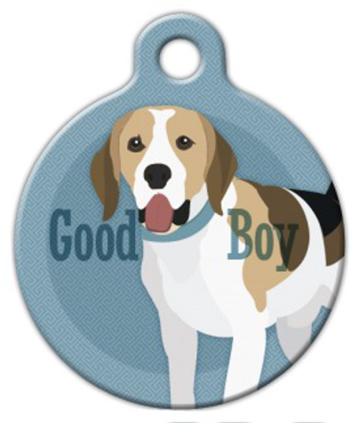 Dog Tag Art Good Boy Beagle Pet ID Dog Tag